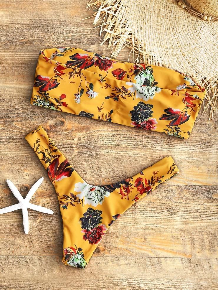 5244a0cd2f Buy Spring Summer 2018 Swimwear Trends Women's Mustard Floral Printed  Bandeau Padded Two Piece Strapless Sexy