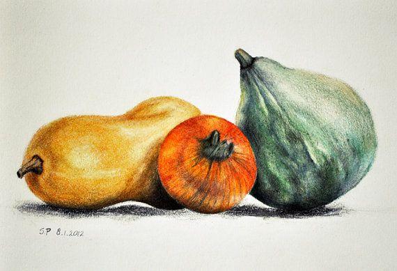 Pumpkins - Original colored pencil drawing , 5.5 x 8 inch still life, Halloween art via Etsy