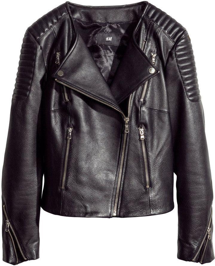 H & M H&M Leather Biker Jacket Black Ladies on