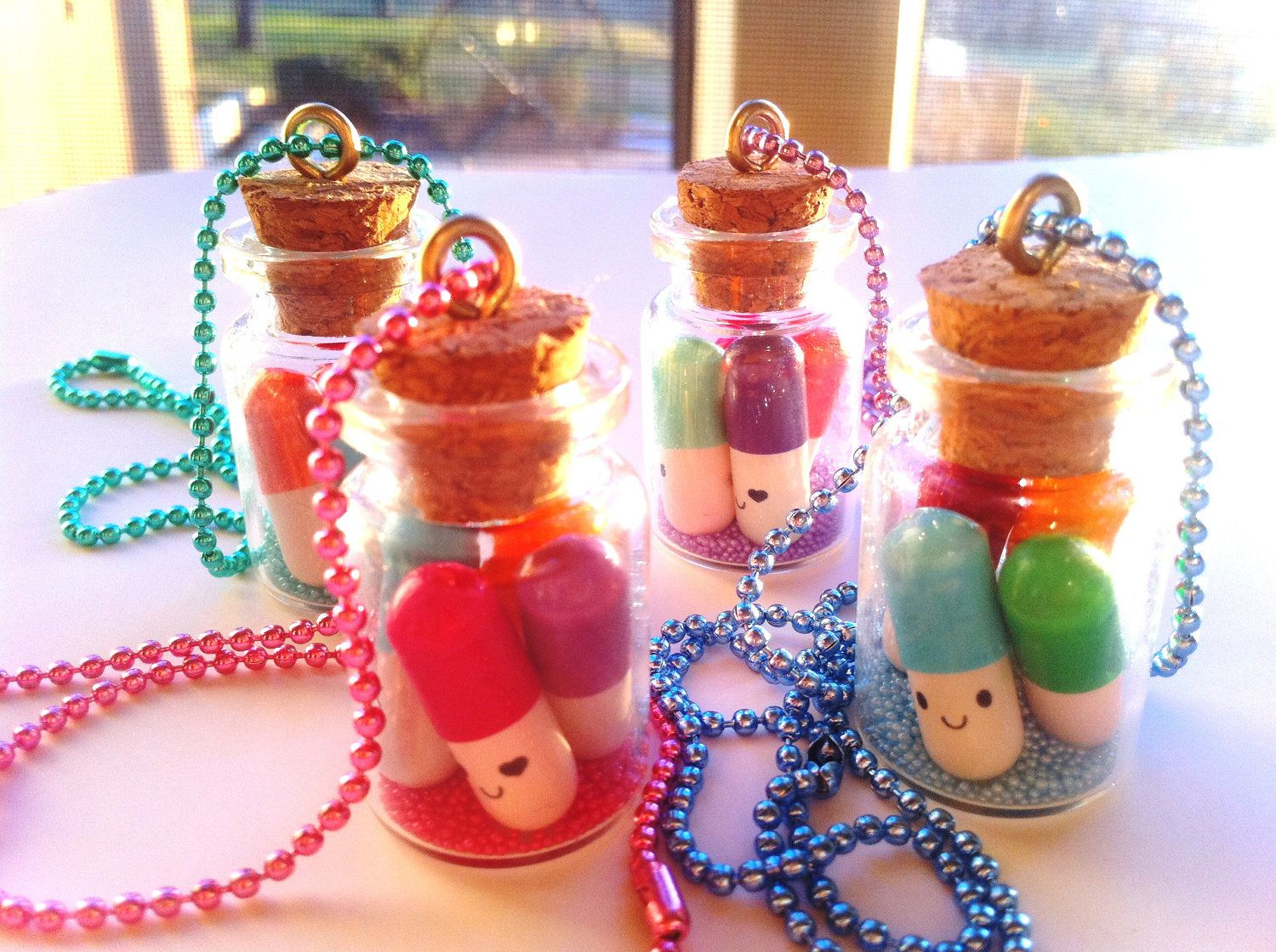 Kawaii Happy Pill Necklace Message in a Bottle. $8.50, via Etsy.
