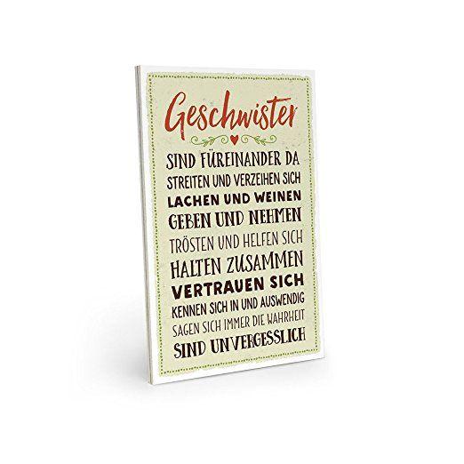 ARTFAVES Holzschild mit Spruch - GESCHWISTER SIND FÜREINANDER DA