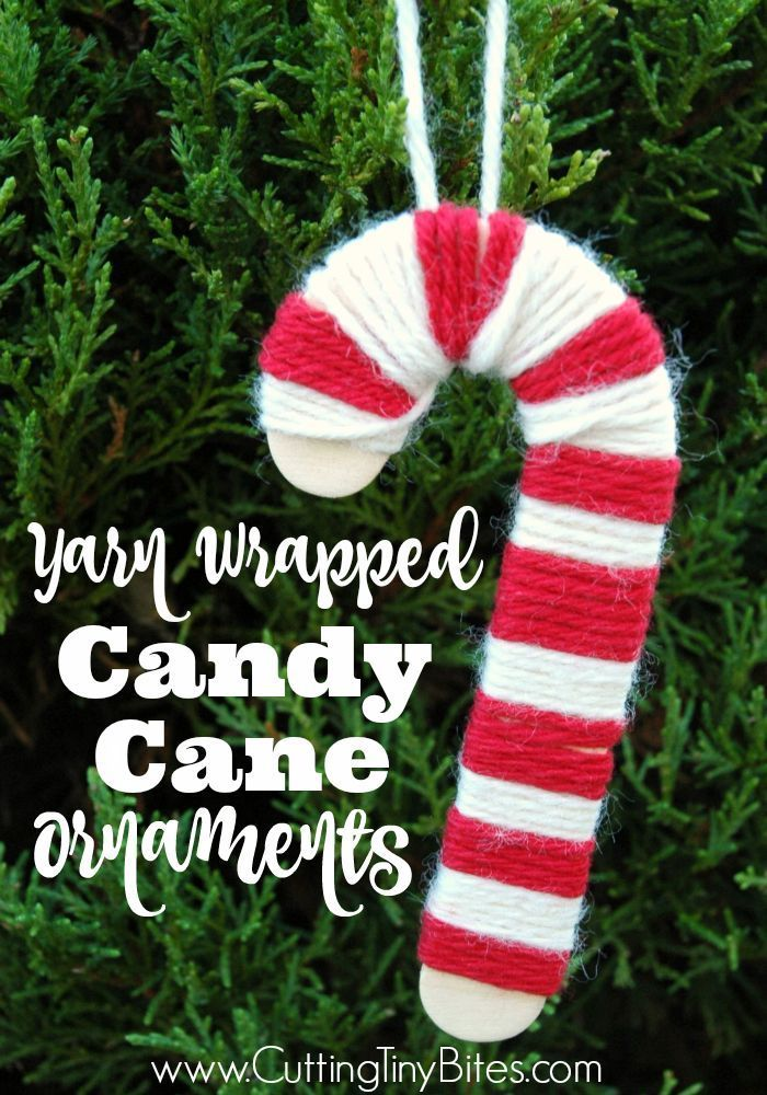 Candy Cane Christmas Decorations Yarn Wrapped Candy Cane Christmas Ornament  Christmas Ornament