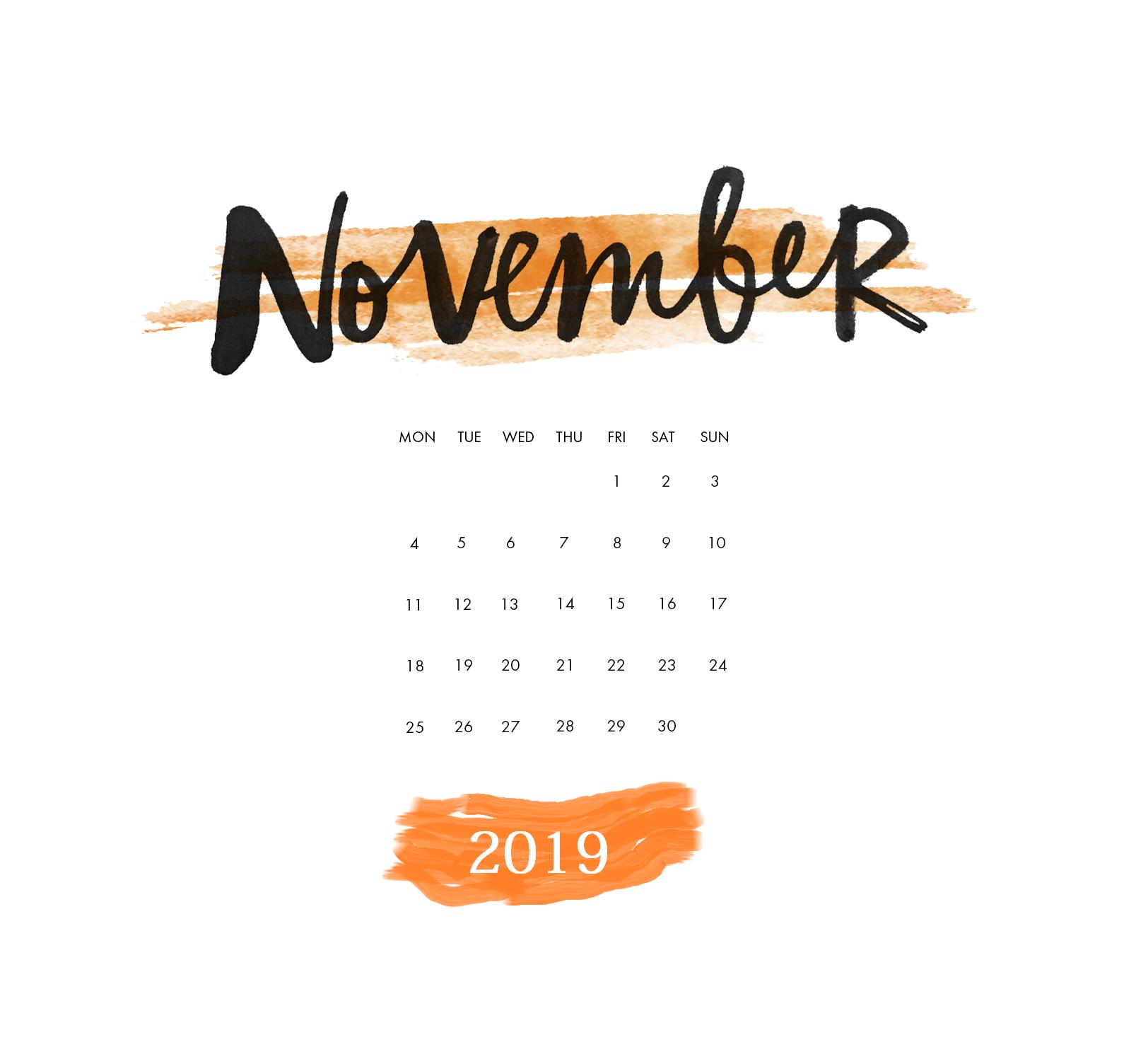November 2019 Calendar Calendar 2019 Calendar Wallpaper Calendar Printables Iphone Wallpaper November