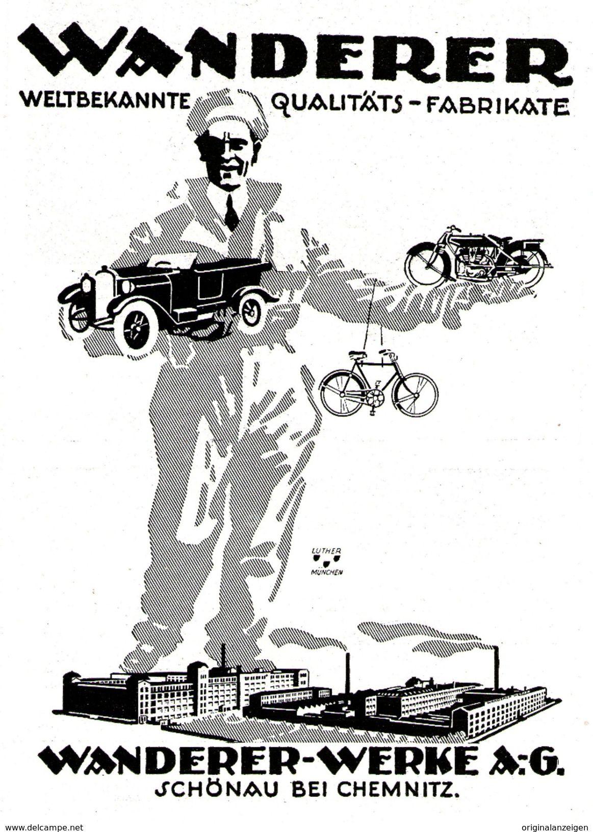 Werbung Original Werbung Anzeige 1925 Wanderer Automobil