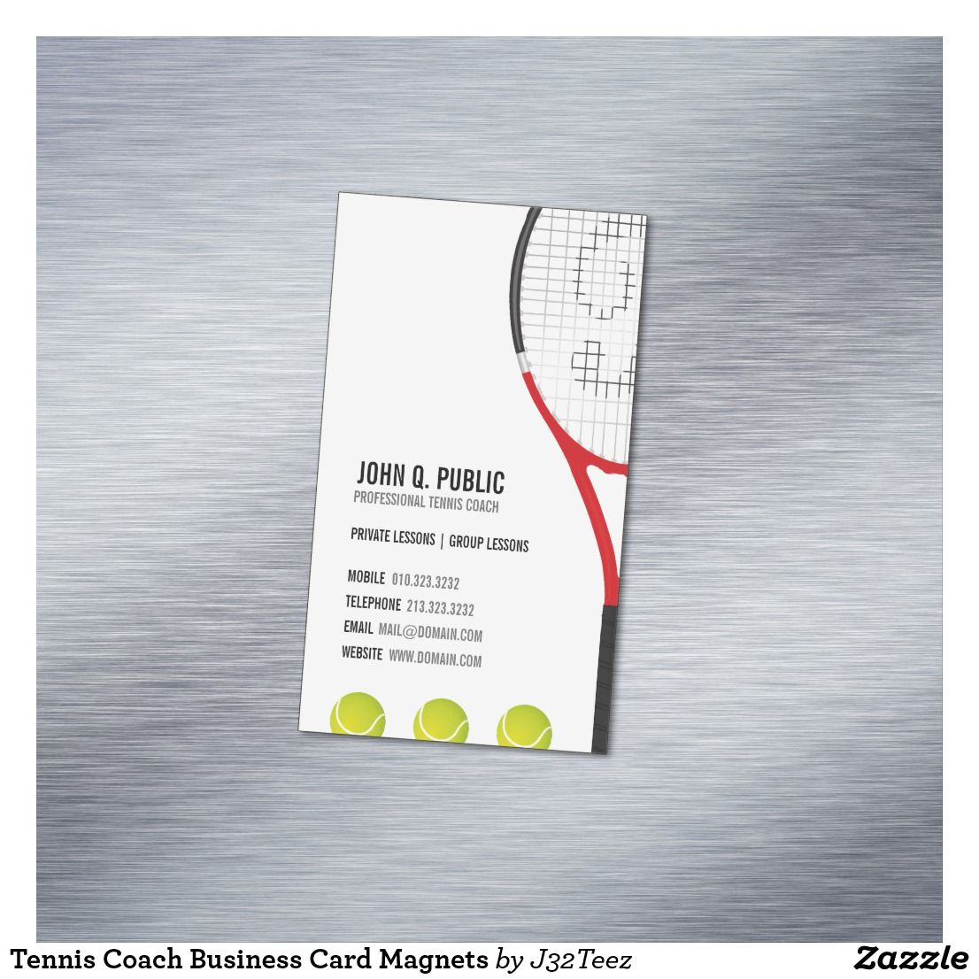 Tennis Coach Business Card Magnets | Business cards, Card templates ...