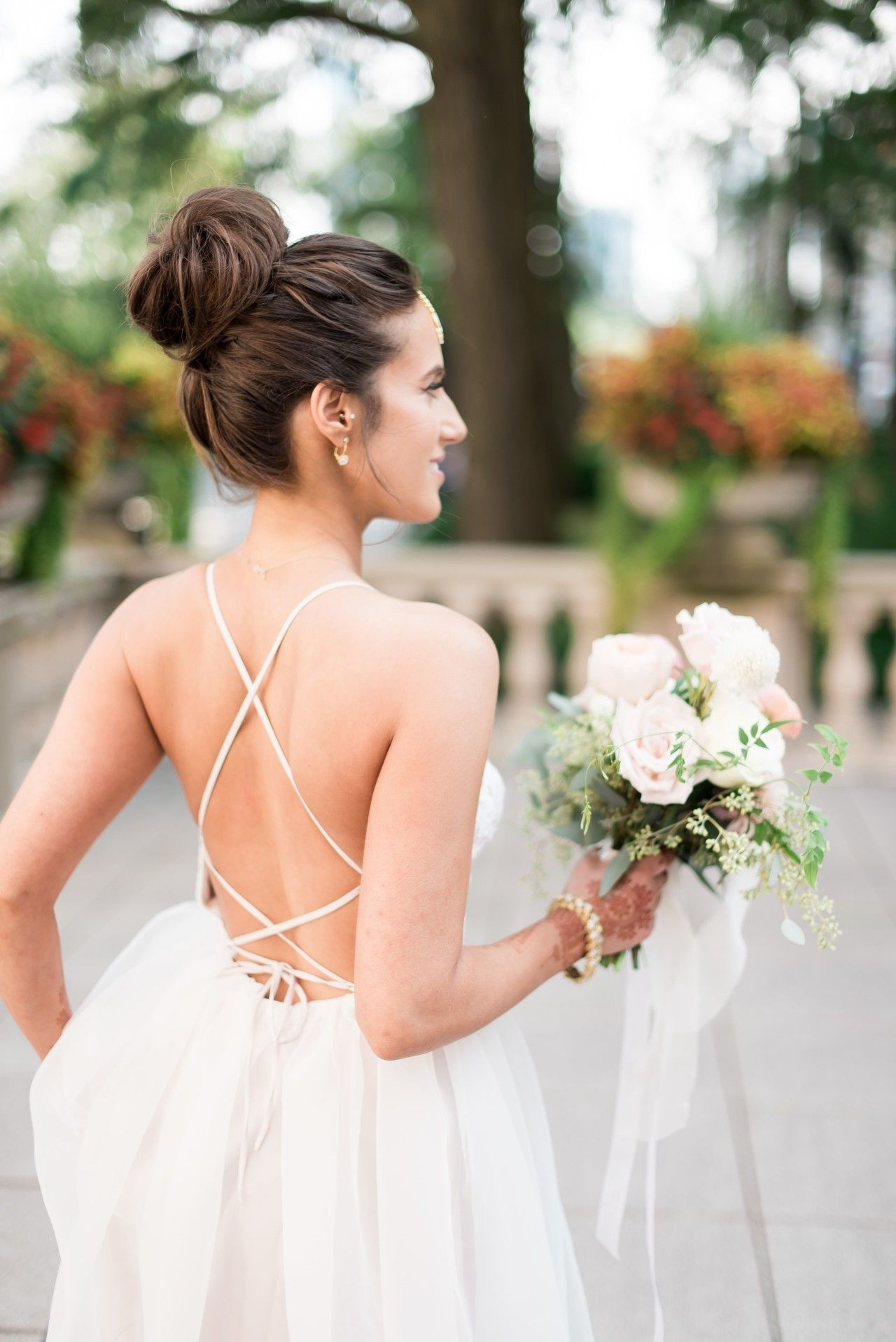 Bride with Top Knot and Backless DressBeautyBlog