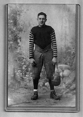 Cabinet Card Photo Early Football Player w Leather Helmet Original ...