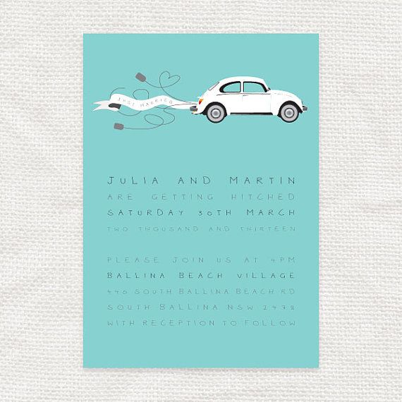 Wedding invitation printable vintage car – the love bug 1960s daisy, retro car with ribbon banner, flowers floral, mod wedding car hippy fun