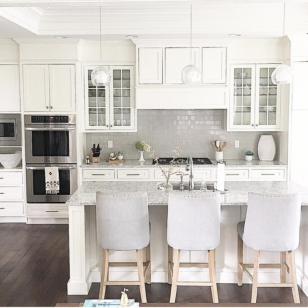 @carolineondesign White Kitchen With Grey Subway Tile