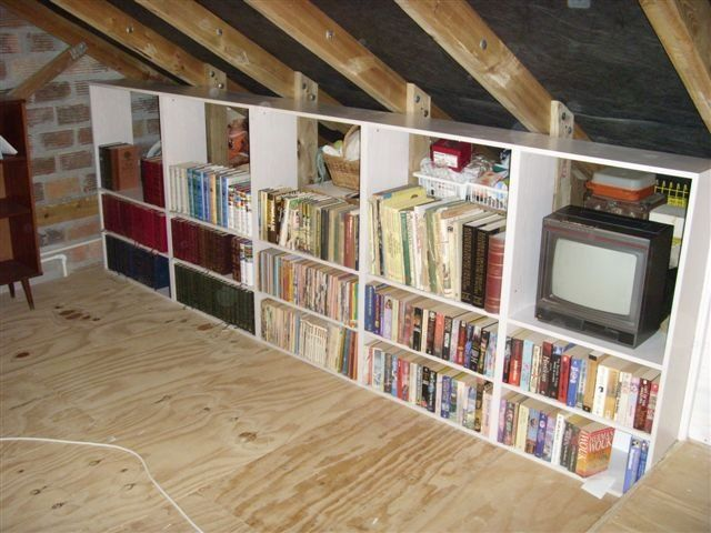 Genial Attic Storage Ideas | Garage Attic Bookshelves And Storage Cabinets