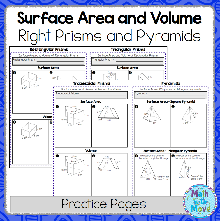 Printable Worksheets volume practice worksheets : Surface Area and Volume of Right Prisms and Pyramids - Practice ...