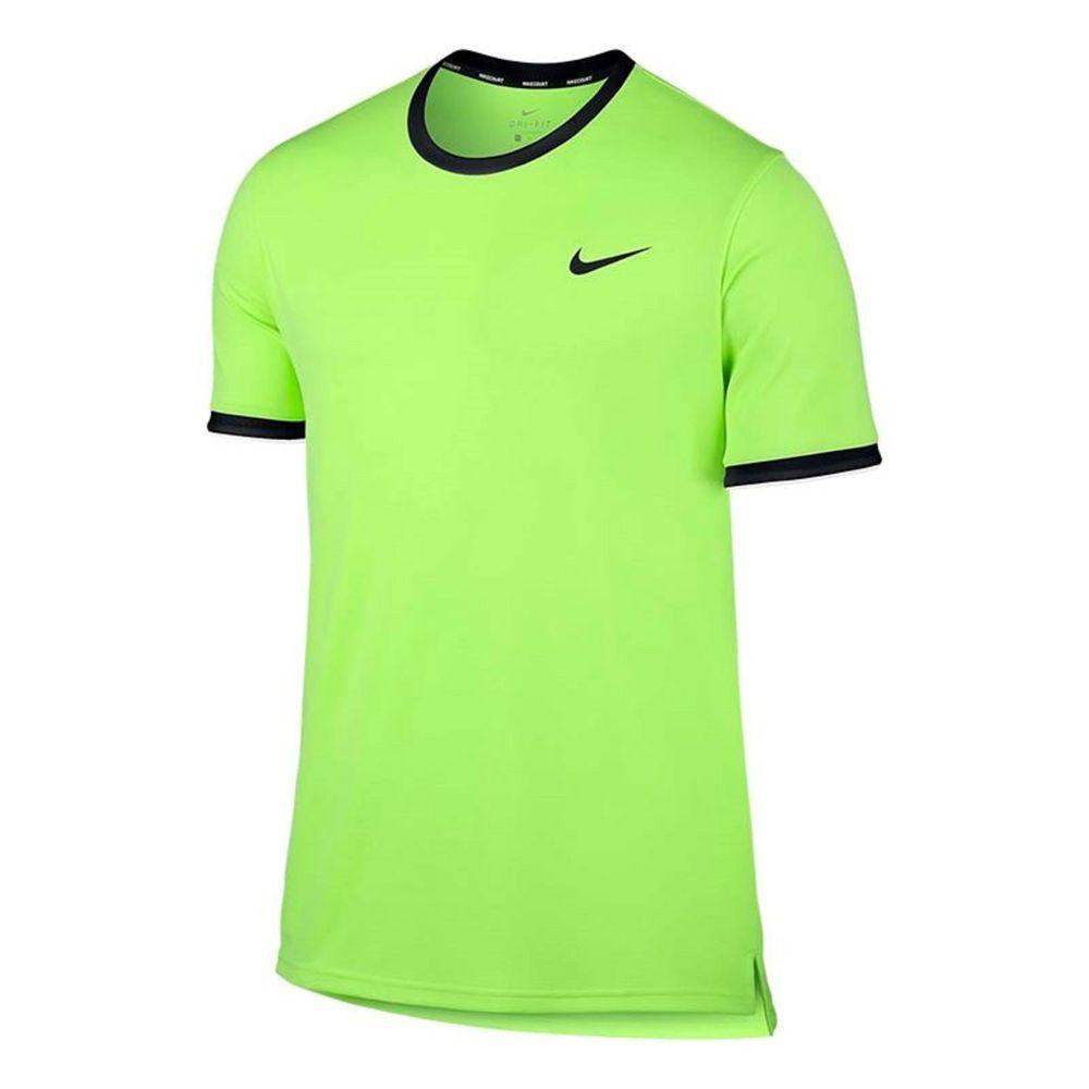 7ce6f32af731 Nike Court Dry Team Crew Tennis Shirt Mens Ghost Green Black White 830927  367  Nike  ShirtsTops