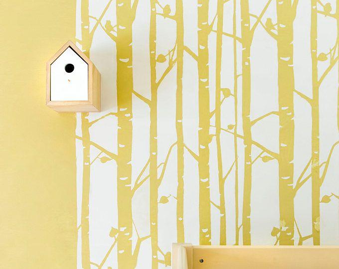 Birch Forest Wall Stencil Decorative Scandinavian wall stencil for ...
