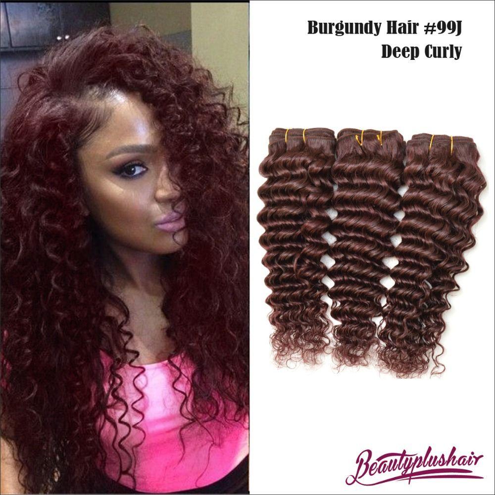 4pcs Lot 6a Brazilian Burgundy Remy Human Hair Extensions Deep Wave