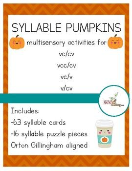 syllable pumpkins orton gillingham aligned activities for vc cv vc v v cv words. Black Bedroom Furniture Sets. Home Design Ideas