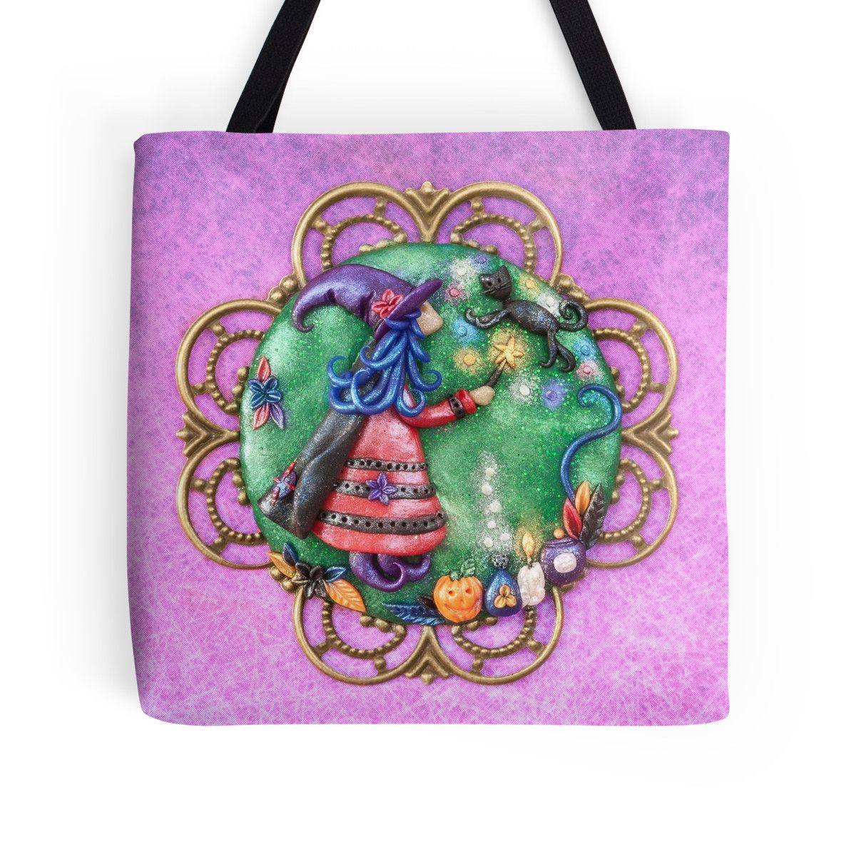 $27.50 #totebag, #totebags, #witchtotebag, #halloweentotebag, #trickortreatbag, #witchart, #shoulderbag, #shoppingbag, Witch Tote Bag, Fairy Tale, Witch Love, For Witch Lovers, Witch with Wand, Black Cat, Witch Art, Shoulder Bag, Texture, Green and Pink, Shopping Bag Practicing It's not always easy being a witch's best friend!