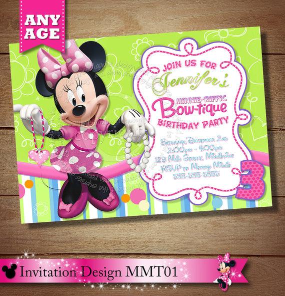 Minnie Mouse Bowtique Invitation Bow Tique Birthday Party PR