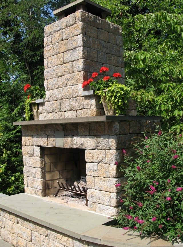 cinder block outdoor fireplace - Google Search | Outdoor ... on Cinder Block Fireplace Diy  id=47128
