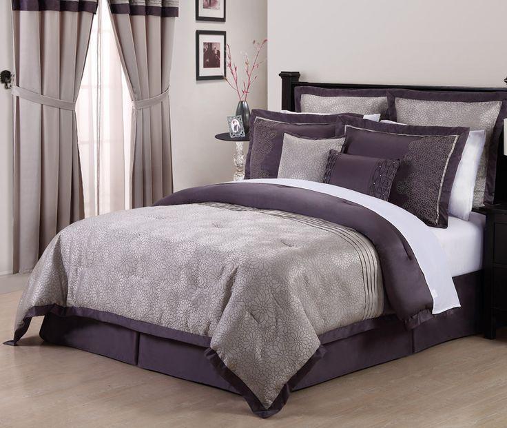 gray  lavendar queen bedding set  8pcs queen debois