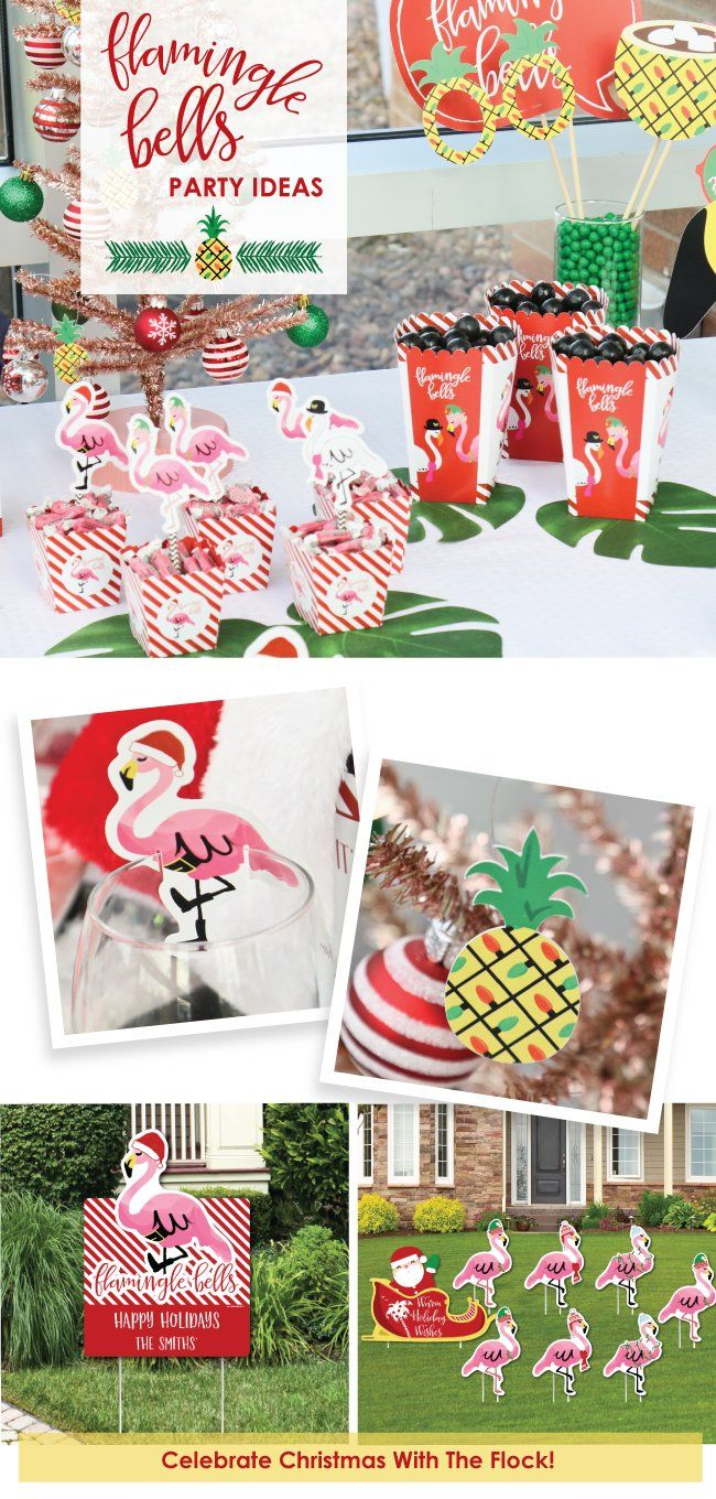 Tropical Christmas Party Ideas Part - 17: Flamingle Bells Christmas Party Supplies - Tropical Christmas Decorations  BigDotOfHappiness.com