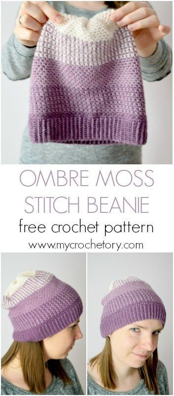 Ombre Moss Stitch Beanie is a charming hat with a simple moss stitch (linen stitch or granite stitch) pattern that features an interesting color transition from one shade to another giving an beautiful ombre look. Free crochet pattern on my blog www.mycrochetory.com #MyCrochetory #crochet #beanie #freepattern #mossstitch #linenstitch #granitestitch