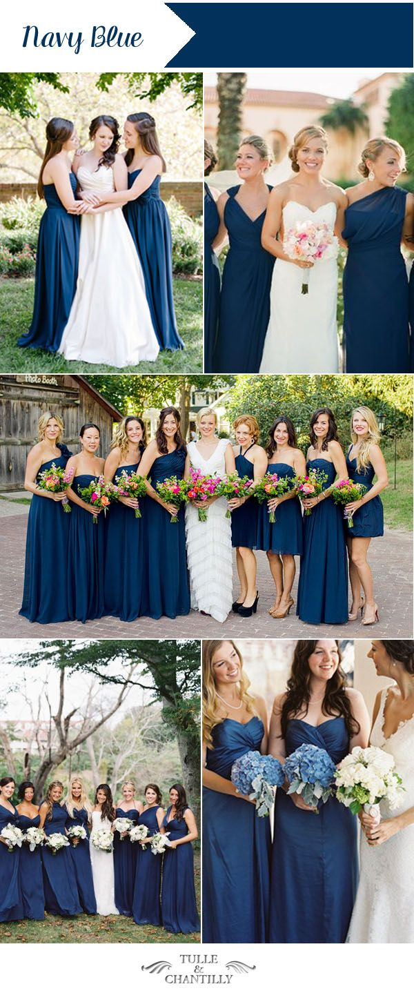 Navy Blue Spring And Summer Wedding Color 2016 Bridesmaid Dresses