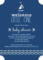 Navy Blue Sailboat Baby Shower Invitation