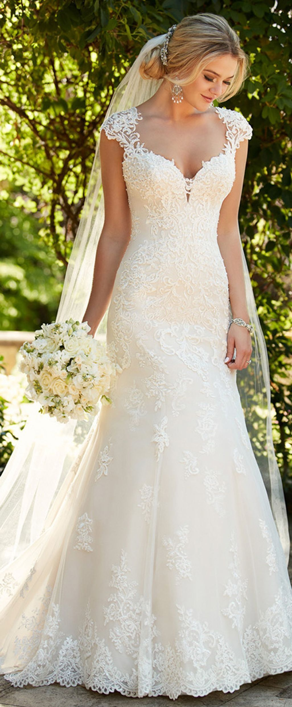 Cool Gorgeous V Neck Tulle Wedding Dress Ideas More at