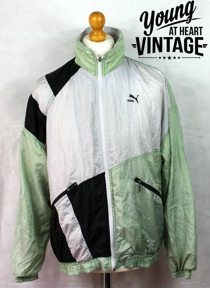 682727a181b0 Vintage 90s Puma Tracksuit Jacket Retro Mens Size Medium 38-40 Green Silver