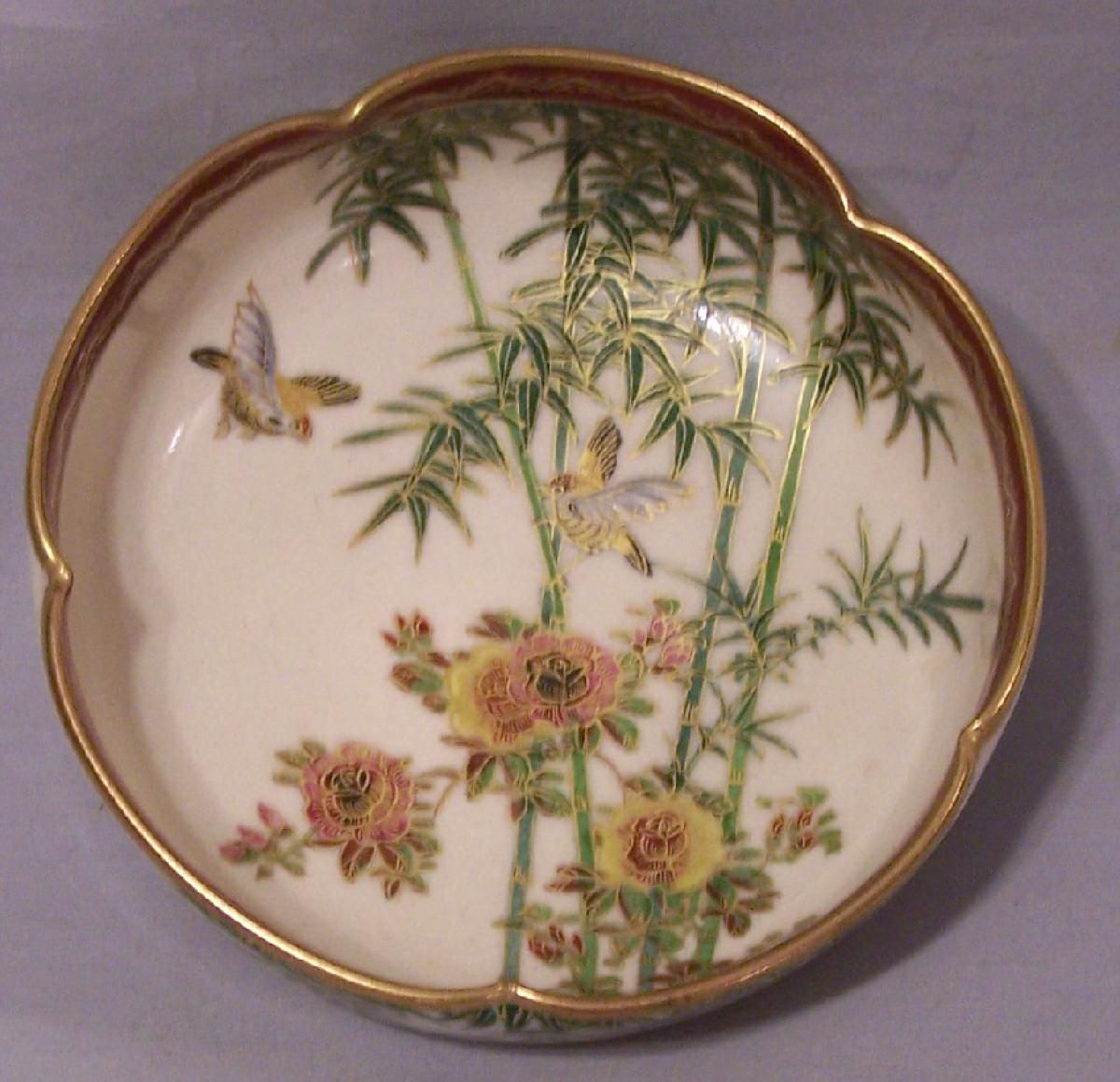 Japanese Satsuma bowl depicting flower and birds
