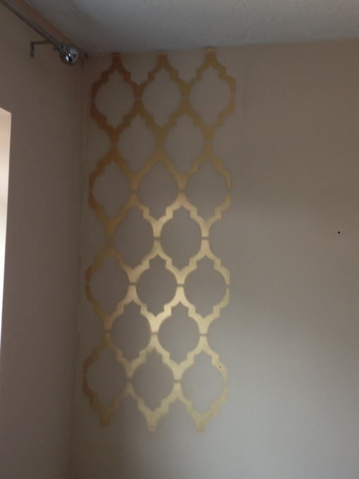 Geometric Print Wall Every Home Is A Castle Stencils Wall Gold Wallpaper Bedroom Wallpaper Bedroom