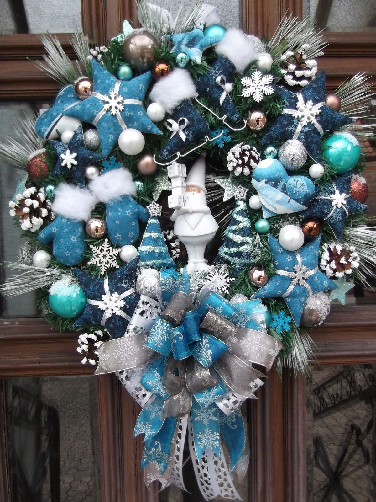 Turkranz Weihnachten Weihnachtskranz Turkis Blau Tilda Art