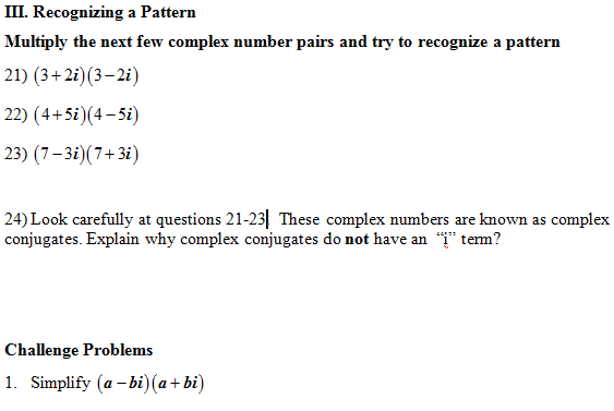 Imaginary And Complex Numbers Worksheet: Multiply Complex Numbers Worksheet (pdf) and Answer Key  28    ,