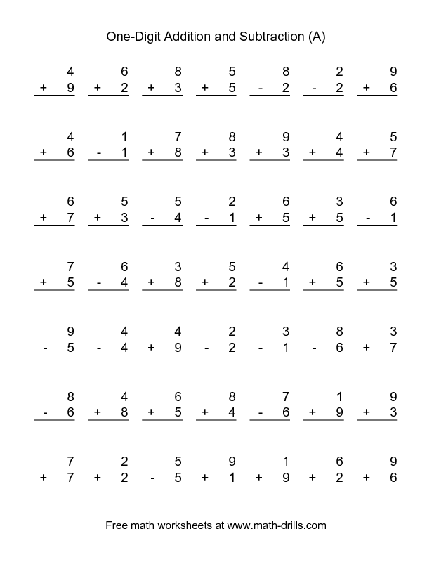Combined Addition and Subtraction Worksheet -- Single-Digit (A ...