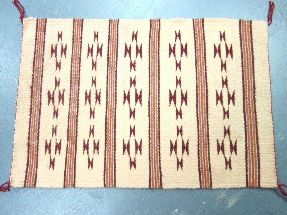 Vintage Navajo Rug 26 X 17 Unusual Colors Symbols Mexican Rug