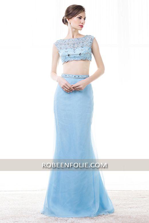 9bb9662cfbe Jolie robe de soirée longue en deux pièce en crêpe et voile buste diamants  et pailleté