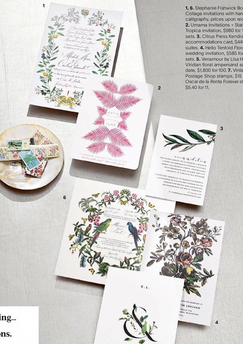 Botanical Wedding Invitations In Brides Magazine By Hello Tenfold
