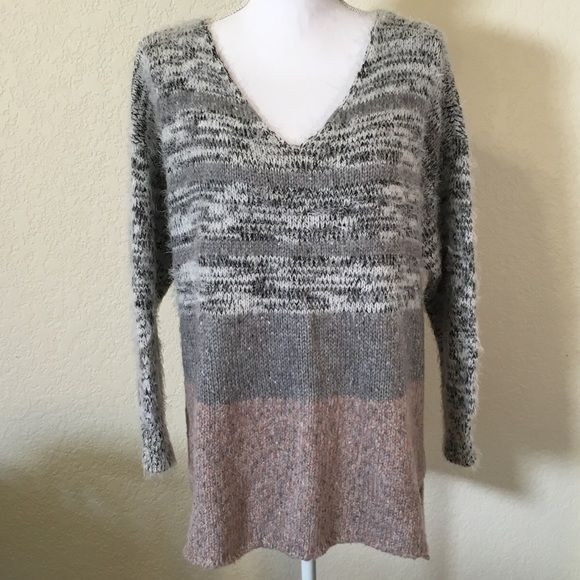NEW BAR III Sweater Beautifully soft.  Light purple and gray striped. 68% Acrylic, 18% Nylon, 9% Polyester, 5% Wool.    Would look great with a pair of jeans or leggings! Bar III Sweaters V-Necks