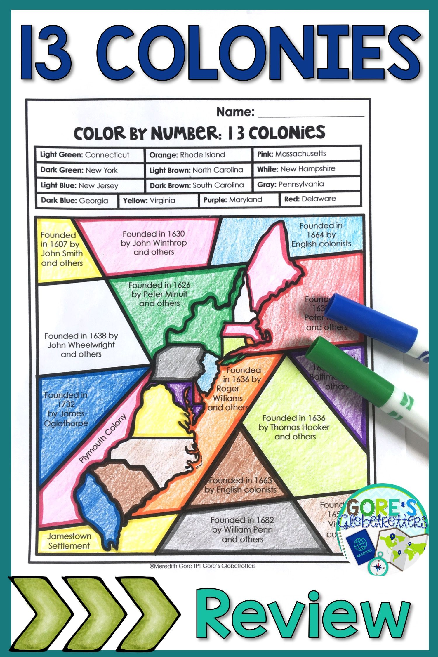 Your upper elementary students will LOVE this 13 Colonies Color by Number  Activity! This printable will be a great way to review important facts and  people ...