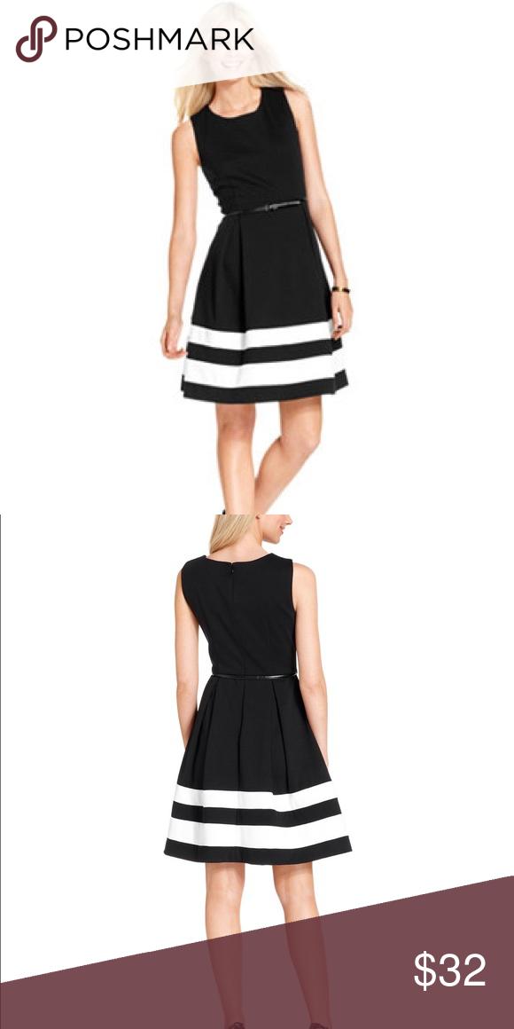 Calvin Klein Fit Flare Dress Blackwhite Stripe My Posh Picks