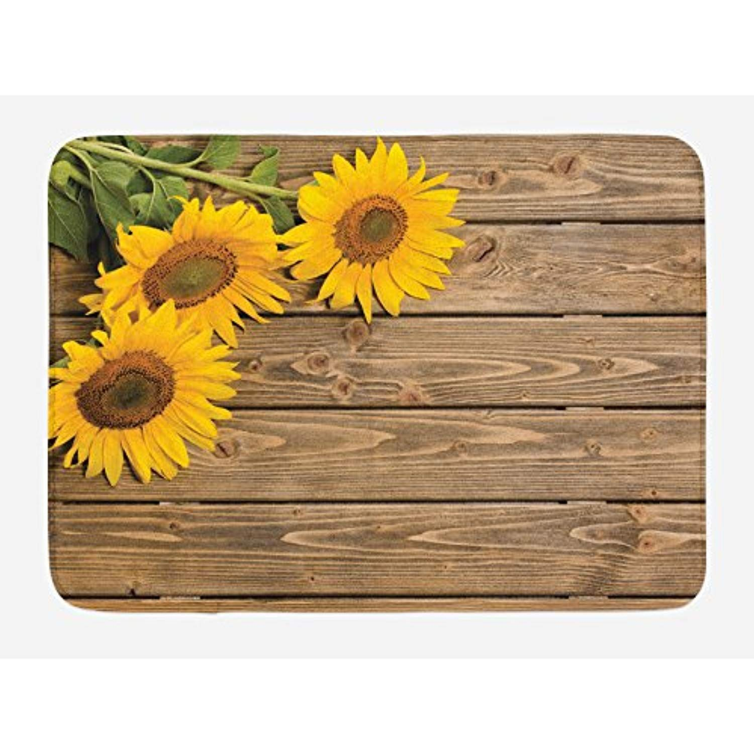 Lunarable sunflower bath mat three sunflowers on wooden background
