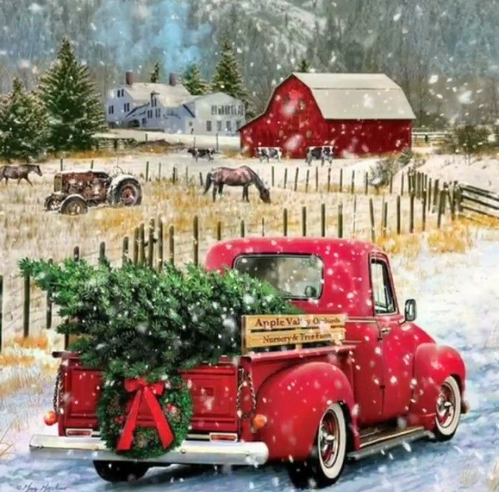 Christmas Red Truck | Christmas paintings, Christmas truck ...