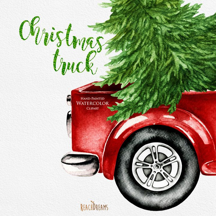 Watercolor Christmas Truck Vintage Red Pickup Pine Tree Etsy Christmas Watercolor Christmas Red Truck Christmas Truck