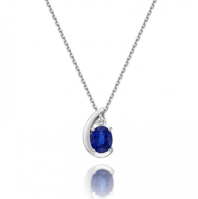 89f68be66ea245 Sapphire Pendant Necklace with 0.03ct Diamonds 9K White Gold | Fab ...