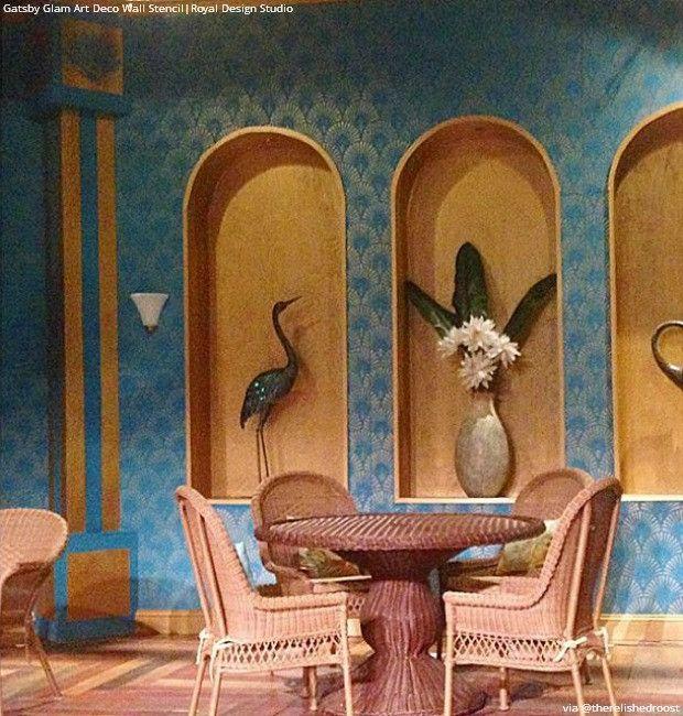 Old Hollywood Glam Wall Decor Gatsby Art Deco Stencils Royal Design Studio