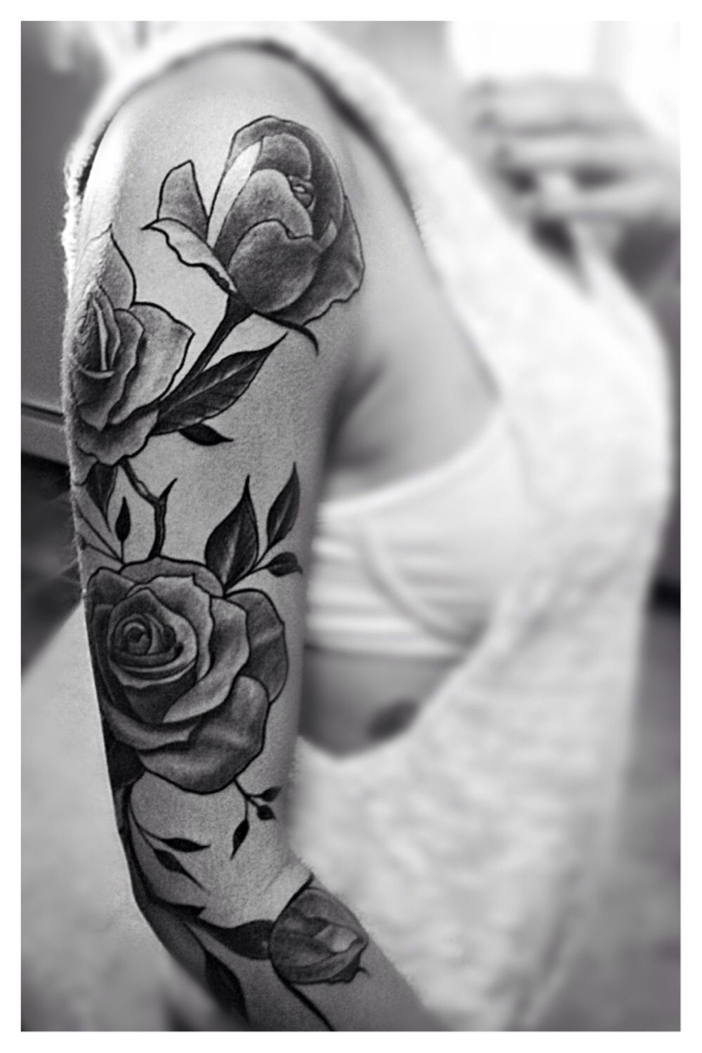 My 3 4 Sleeve 3 So In Love Rose Vine Tattoo Sleeve Black And Grey