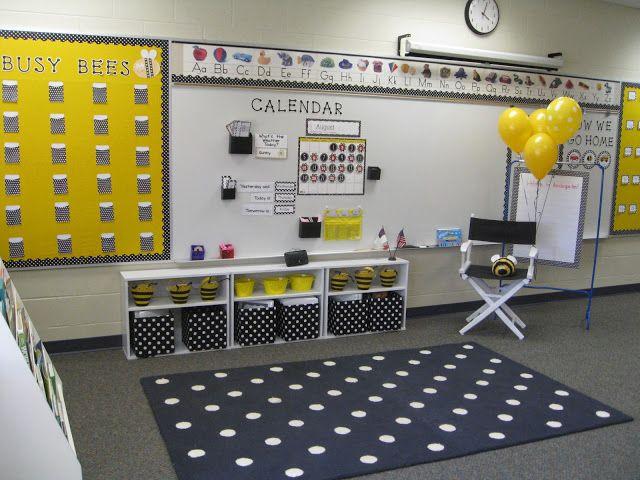 Yellow Classroom Decor : Love the polka dot rug and cohesive colors classroom decor