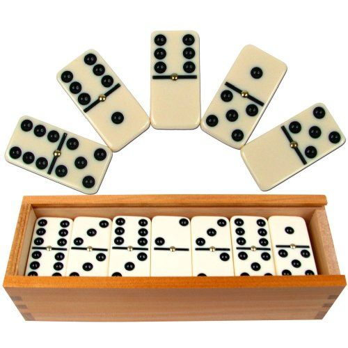 Free Shipping Double Nine Domino Set with 4 built in Holders Black