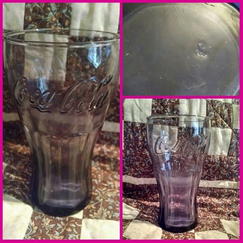 """Beautiful Purple Glass Coca Cola Glass, 6""""tall, 3.5"""" across, L Mark.  SUNDAY OCT 4TH 7PM PDT https://tophatter.com/auctions/70828-vintage-treasures"""