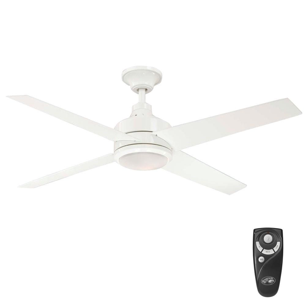 Hampton Bay Mercer 52 In Indoor White Ceiling Fan With Light Kit And Remote Control